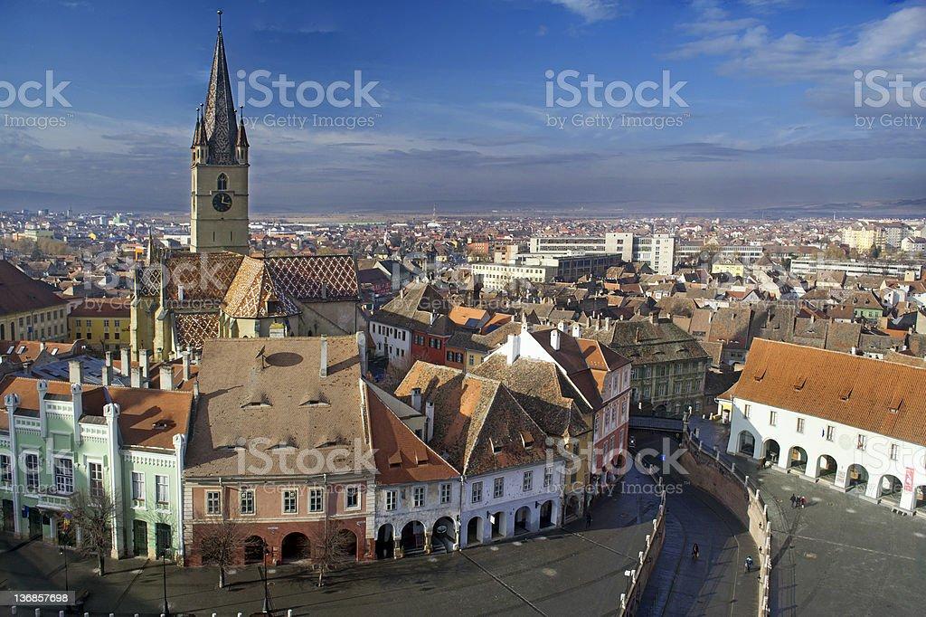 Old city skyline with blue sky stock photo