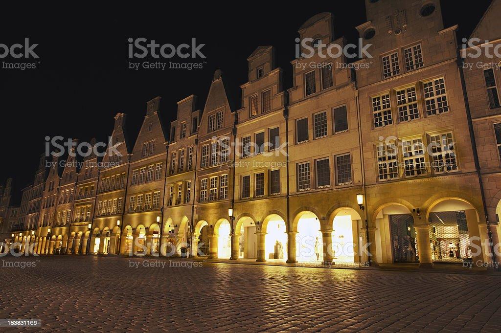 Old city street at night - Prinzipalmarkt in Münster /Germany stock photo