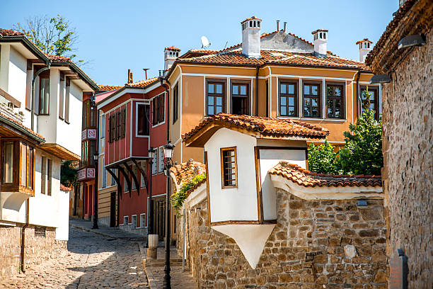 Old city street view in Plovdiv Old city street view with colorful buildings in Plovdiv, Bulgaria bulgaria stock pictures, royalty-free photos & images