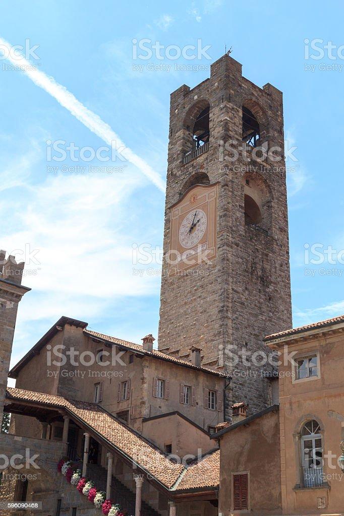 Old city tower Torre Civica in Bergamo, Citta Alta, Italy royalty-free stock photo