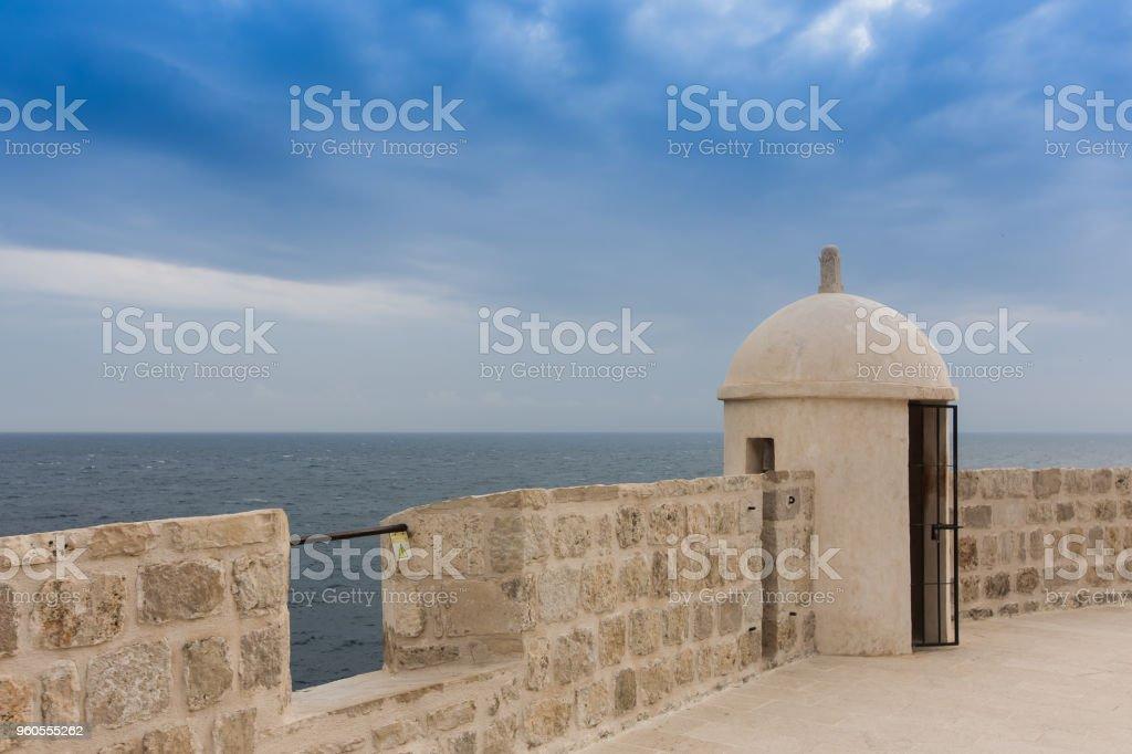 Old city wall in Dubrovnik, Croatia stock photo