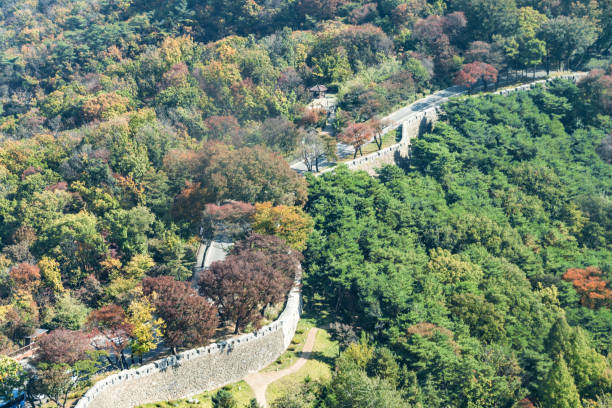 Old city wall in Seoul, South Korea stock photo