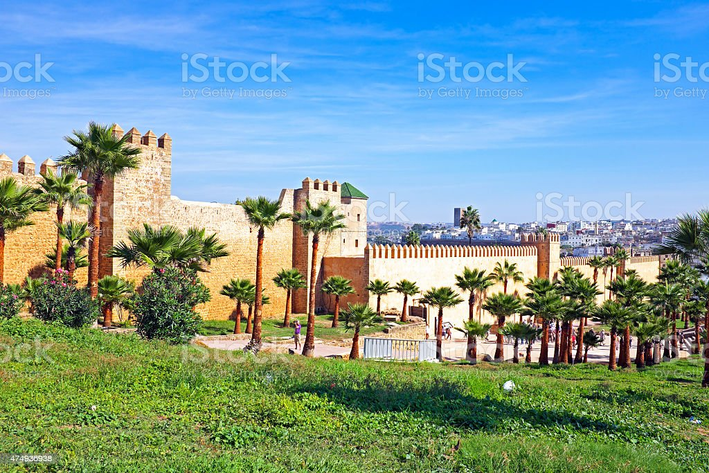 Old city walls in Rabat, Morocco stock photo