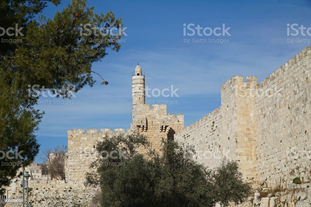 Old City walls of Jerusalem, with Tower of David stock photo