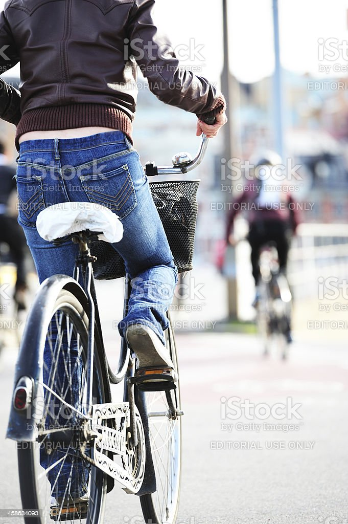Old classic bike in traffic royalty-free stock photo