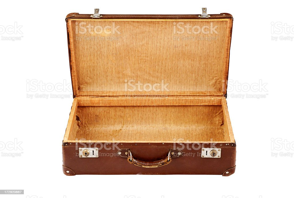 Old classic brown suitcase over a white background stock photo