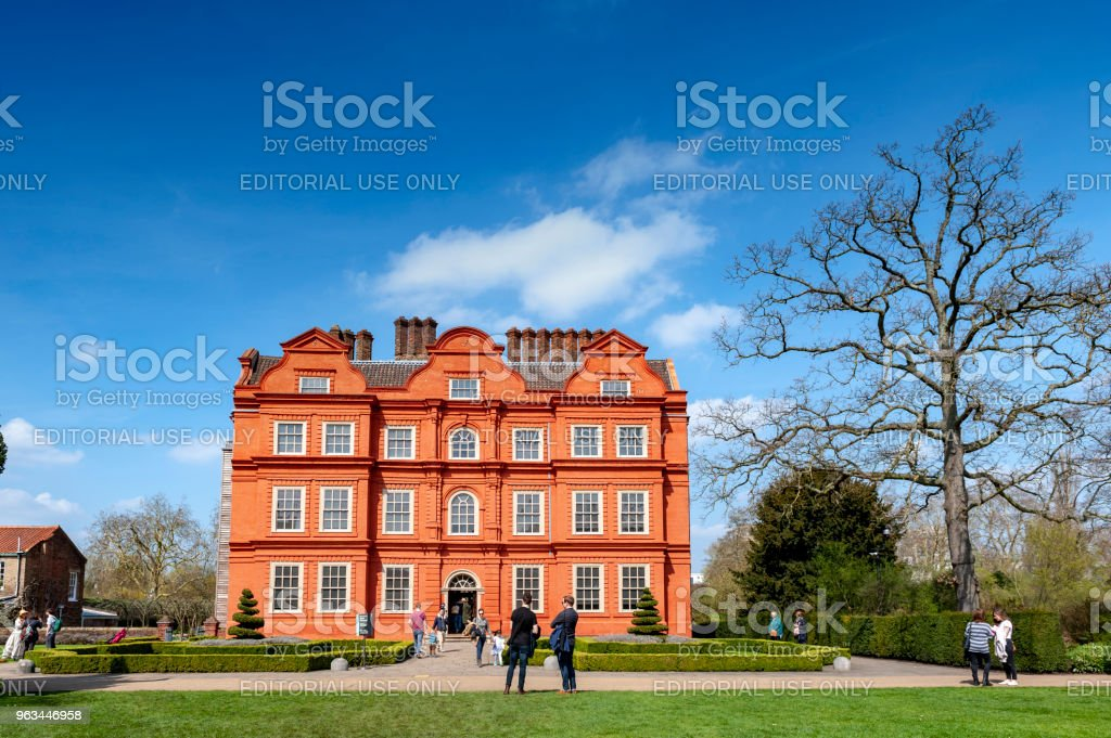 Old classic building of the Dutch House, one of the few surviving parts of the Kew Palace complex, located in Kew Gardens on the banks of the Thames up river from London - Zbiór zdjęć royalty-free (Anglia)