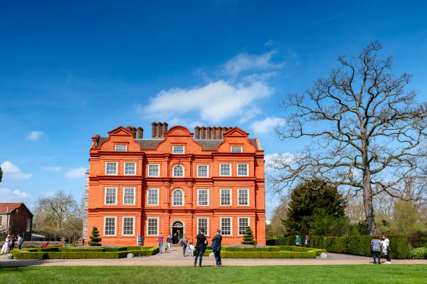 Old classic building of the Dutch House, one of the few surviving parts of the Kew Palace complex, located in Kew Gardens on the banks of the Thames up river from London stock photo