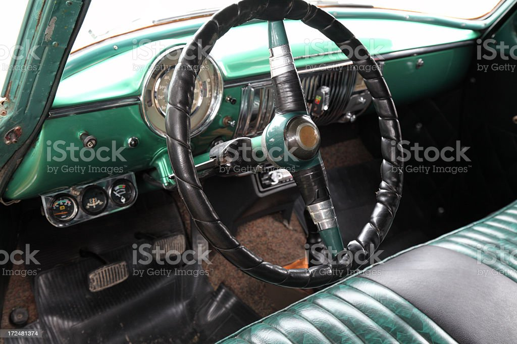 Old classic car interior royalty-free stock photo