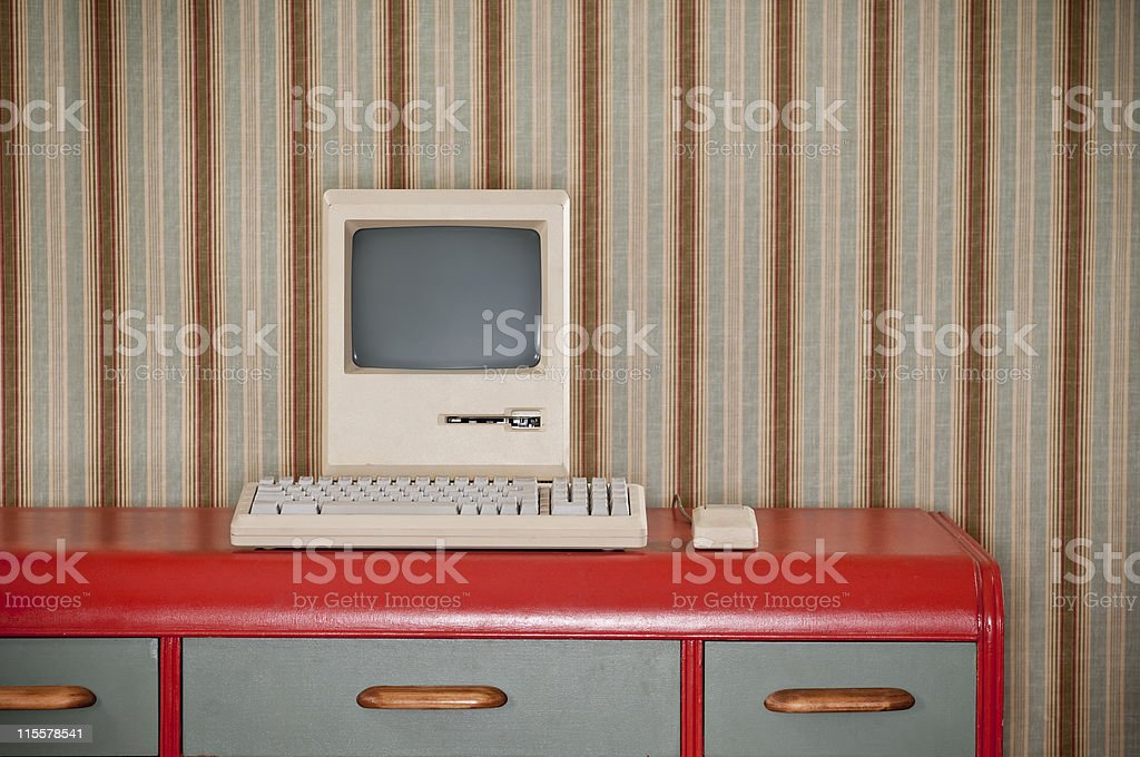 Old Classic Computer On Retro Desk stock photo