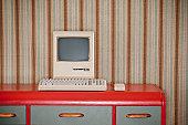 Old Classic Computer On Retro Desk