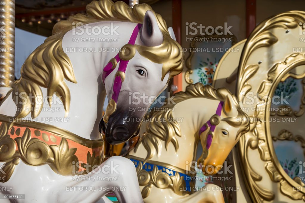 Old Classic French Vintage Carousel Horse In A Holiday Park Merrygoround With Horses Stock Photo Download Image Now Istock