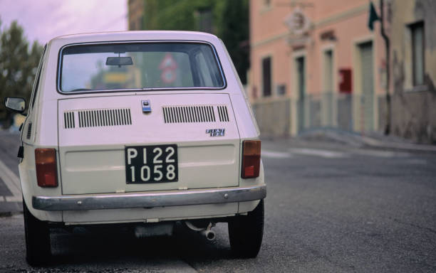 Old classic Italian car, Fiat 126 parked in Tuscany stock photo