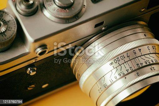 old classic rangefinder film mechanical retro camera close-up