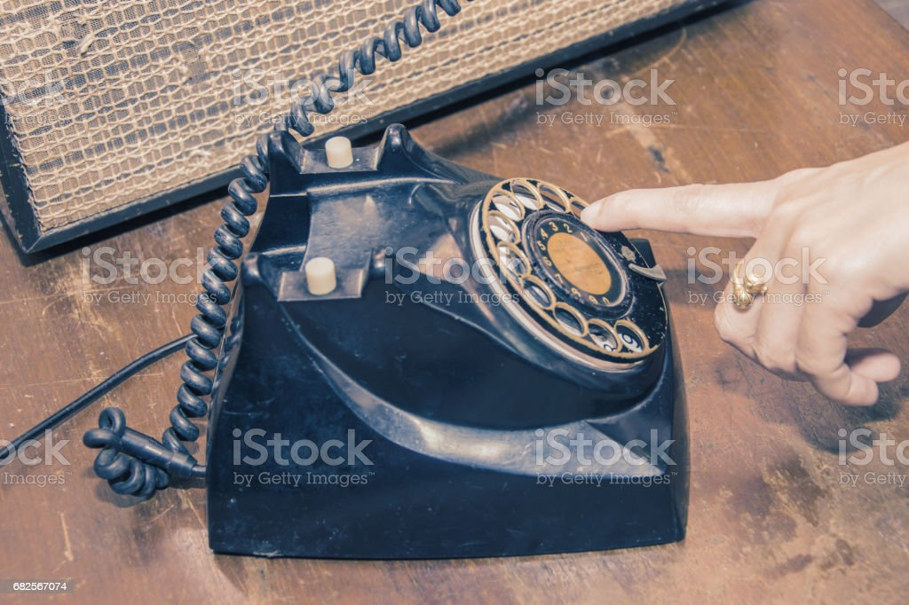 old classic telephone and old radio vintage stock photo