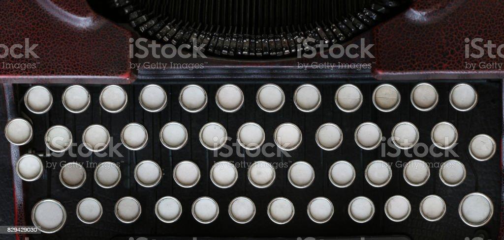 Old classical typewriter machine - blank keyboard stock photo