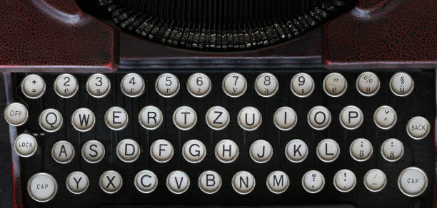 Old classical typewriter machine - keyboard stock photo
