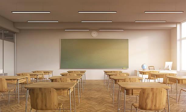 Old classroom interior with sun ストックフォト