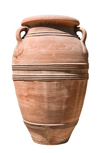 Antique greek vase isolated on white background