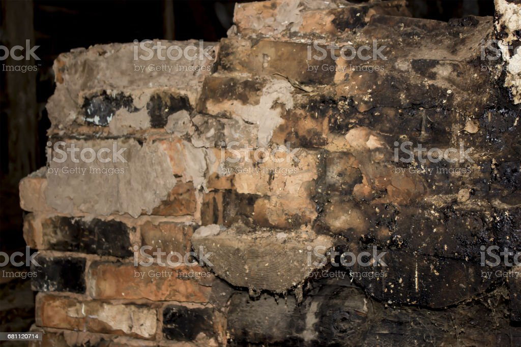 Old clay black and red bricks royalty-free stock photo
