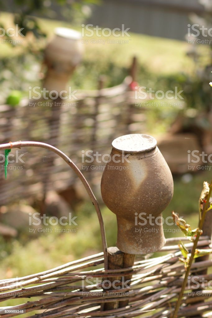 Old clay jug for the designer stock photo