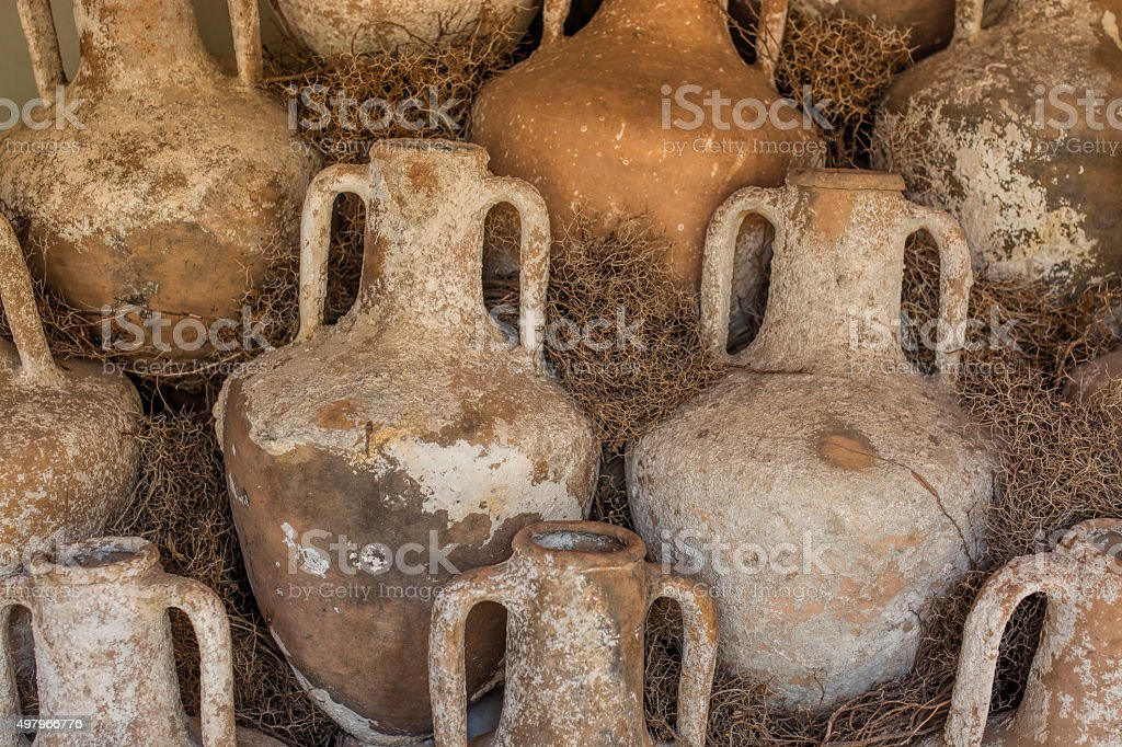 old clay jugs stock photo