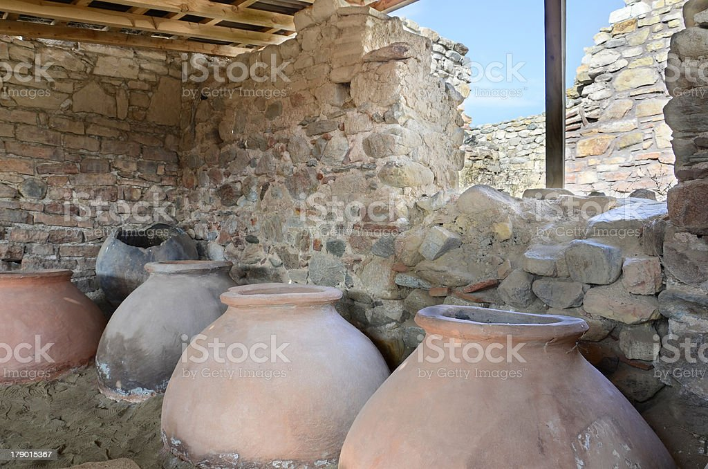 old clay pot excavations into ancient city ruins, Macedonia stock photo