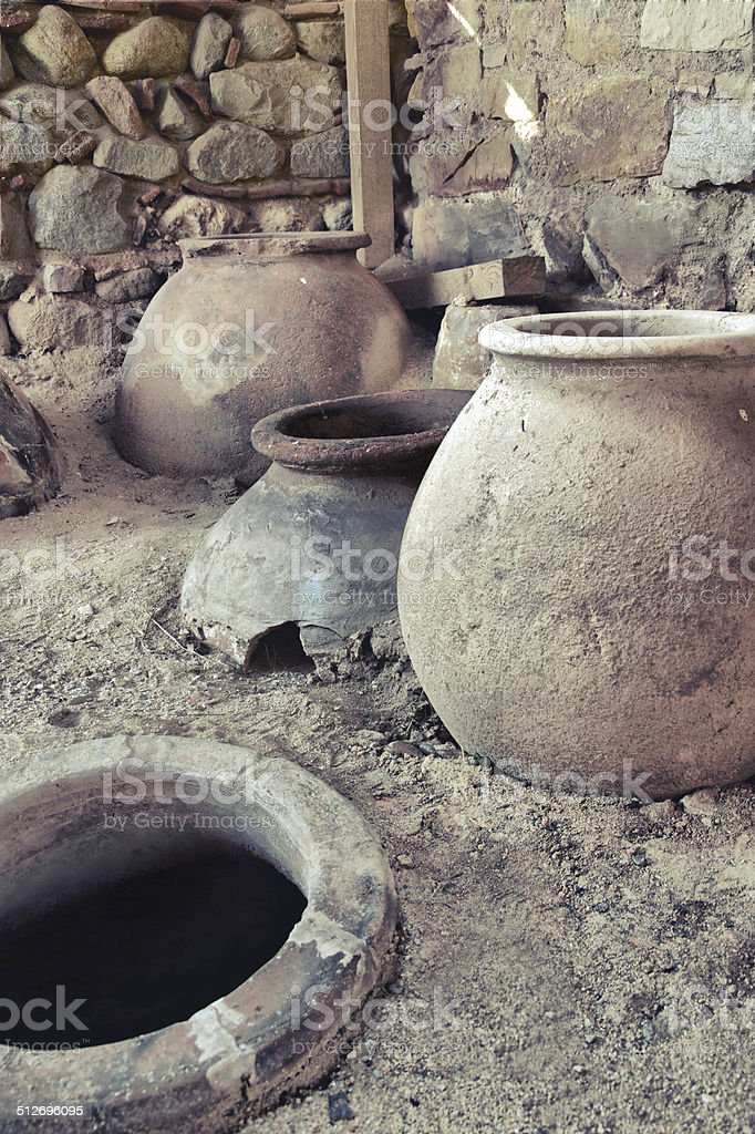 old clay pot excavations into ancient city ruins, VINTAGE stock photo