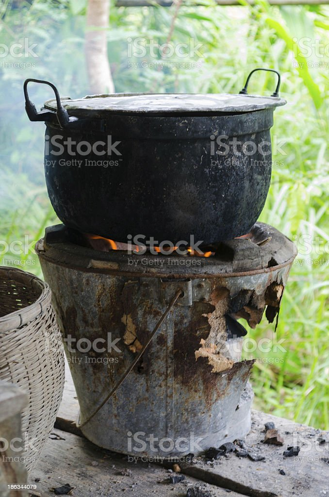 Old clay stove for traditional cooking in Thailand royalty-free stock photo