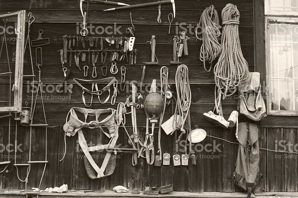 Old climbing gear stock photo