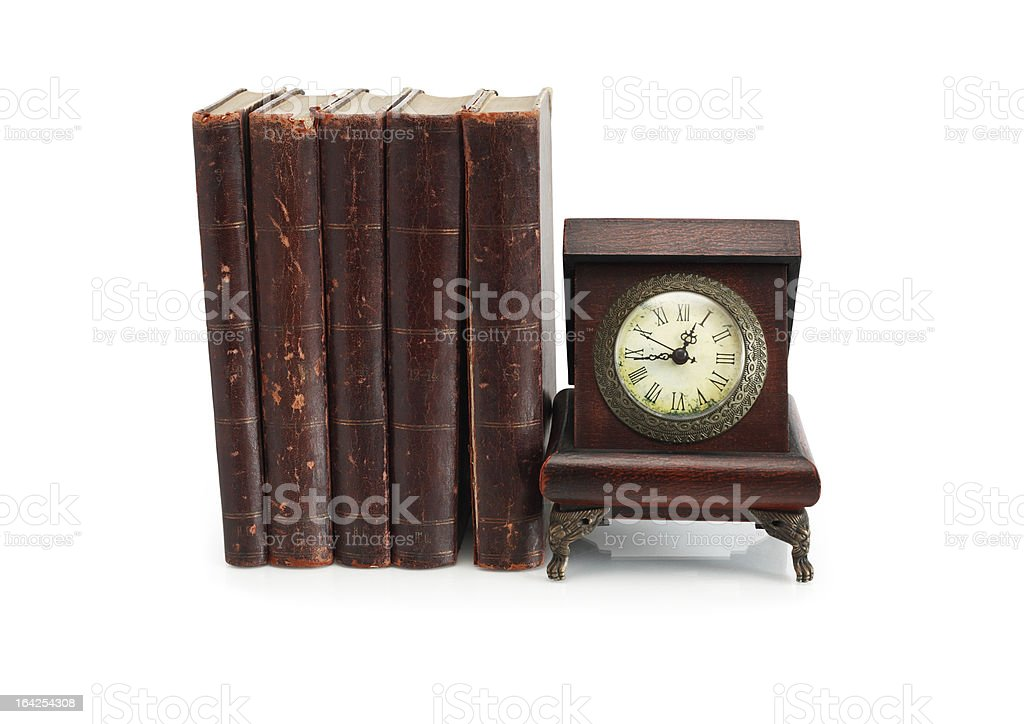 Old Clock And Books royalty-free stock photo
