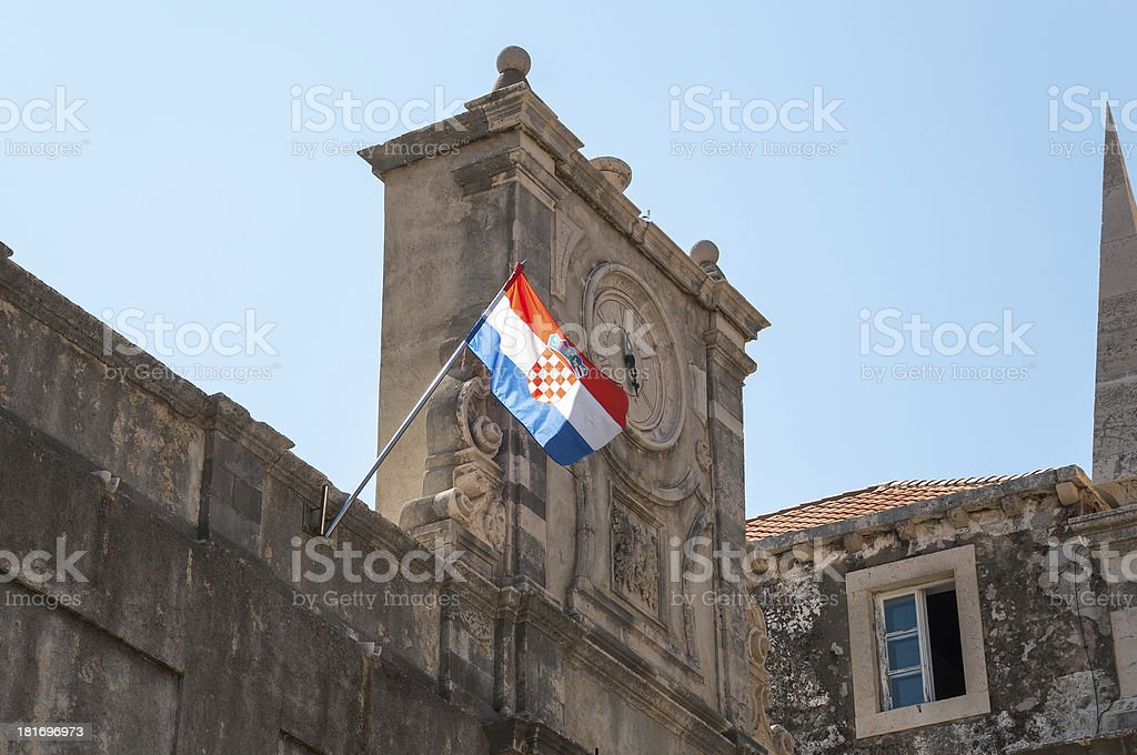 Old clock and croatian flag. stock photo