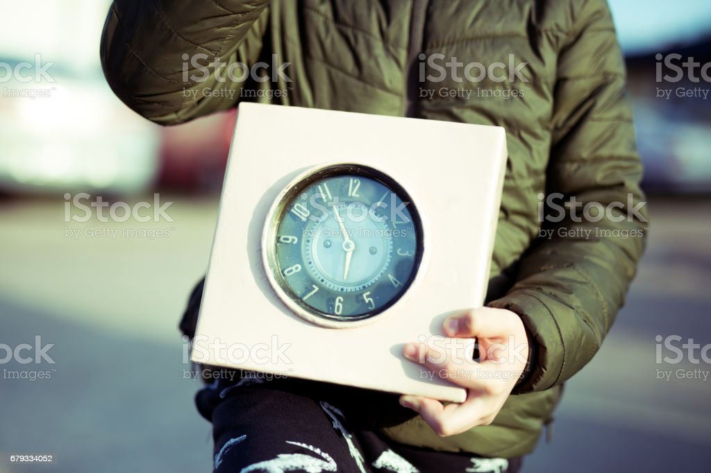 Old clock, child, hands royalty-free stock photo