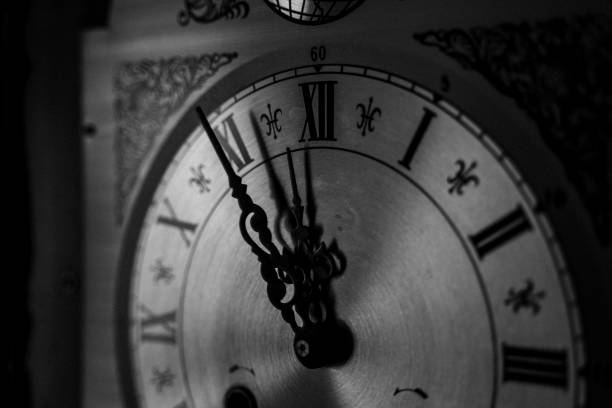 Old Clock Handmade Clock in Germany stock photo