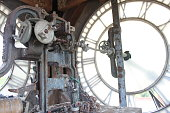 istock Old clock mechanism and clockface 1264817724