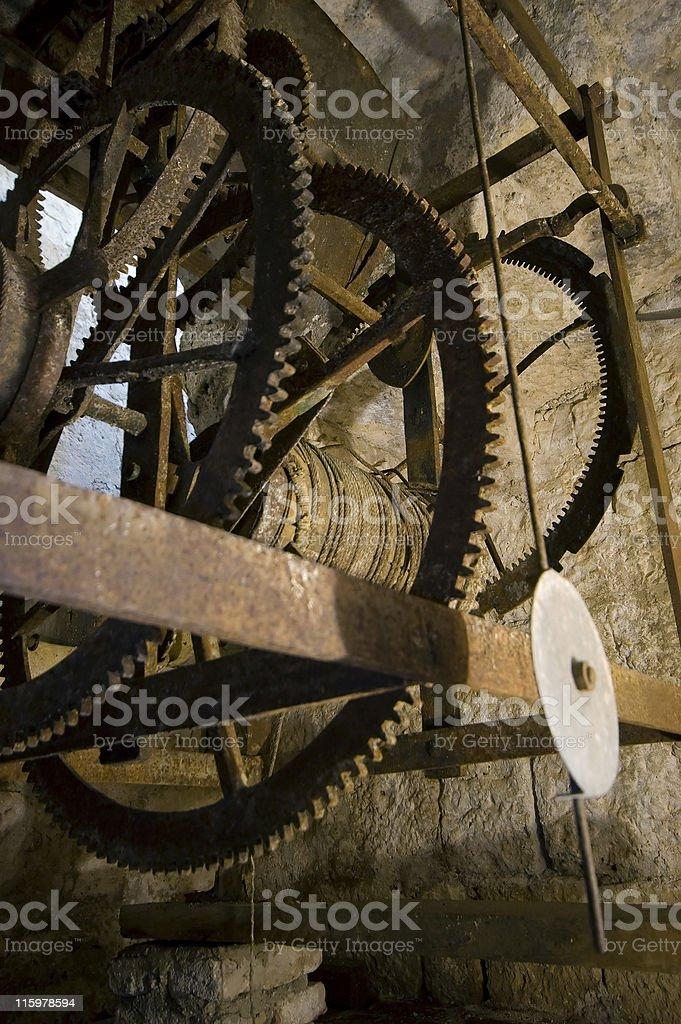 Old clock mechanism stock photo
