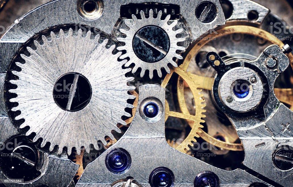 Old clock mechanism. stock photo