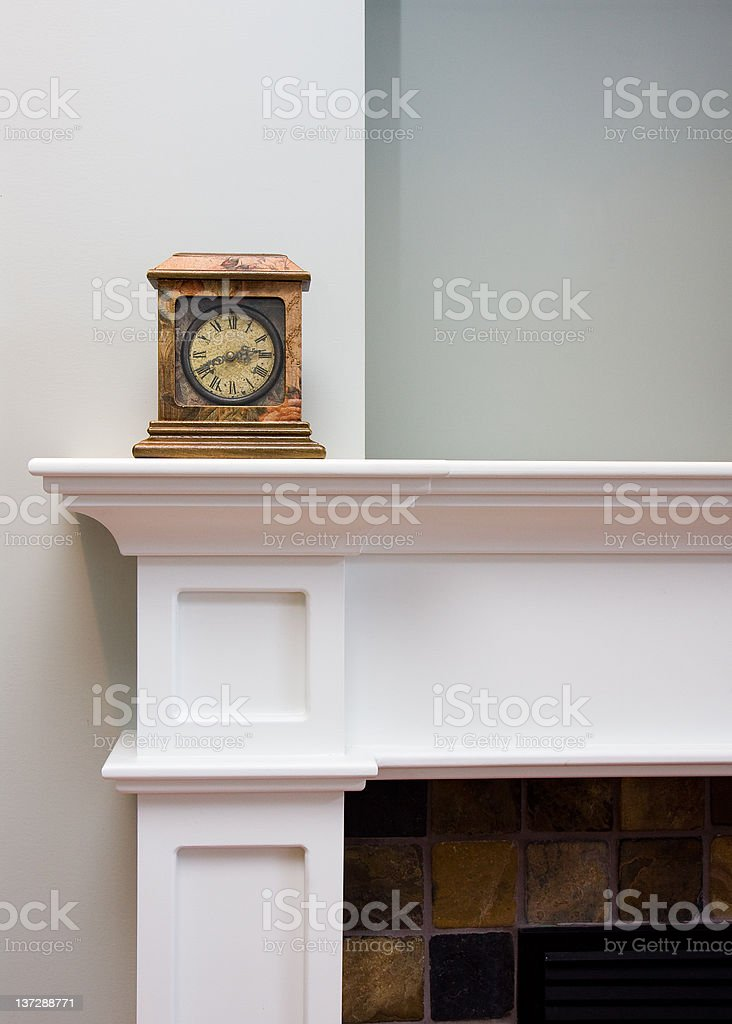 Old Clock on Mantlepiece stock photo