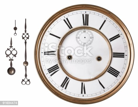 Ancient wooden alarm clock with bell isolated on a white background