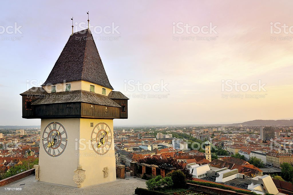 Old clock tower in the city of Graz, Austria stock photo