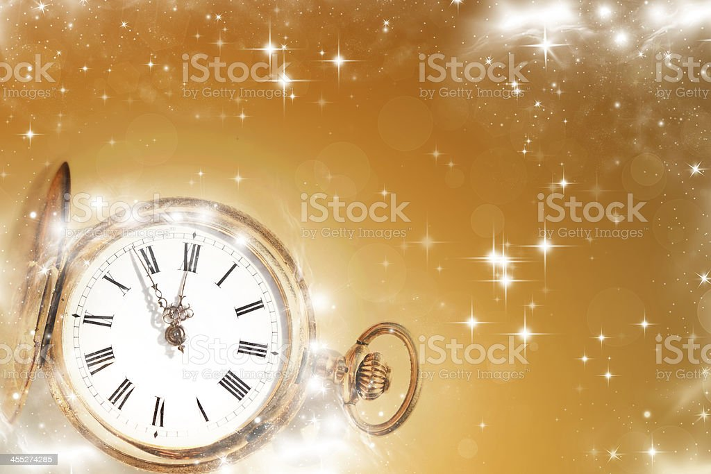 Old clock with stars and snowflakes stock photo