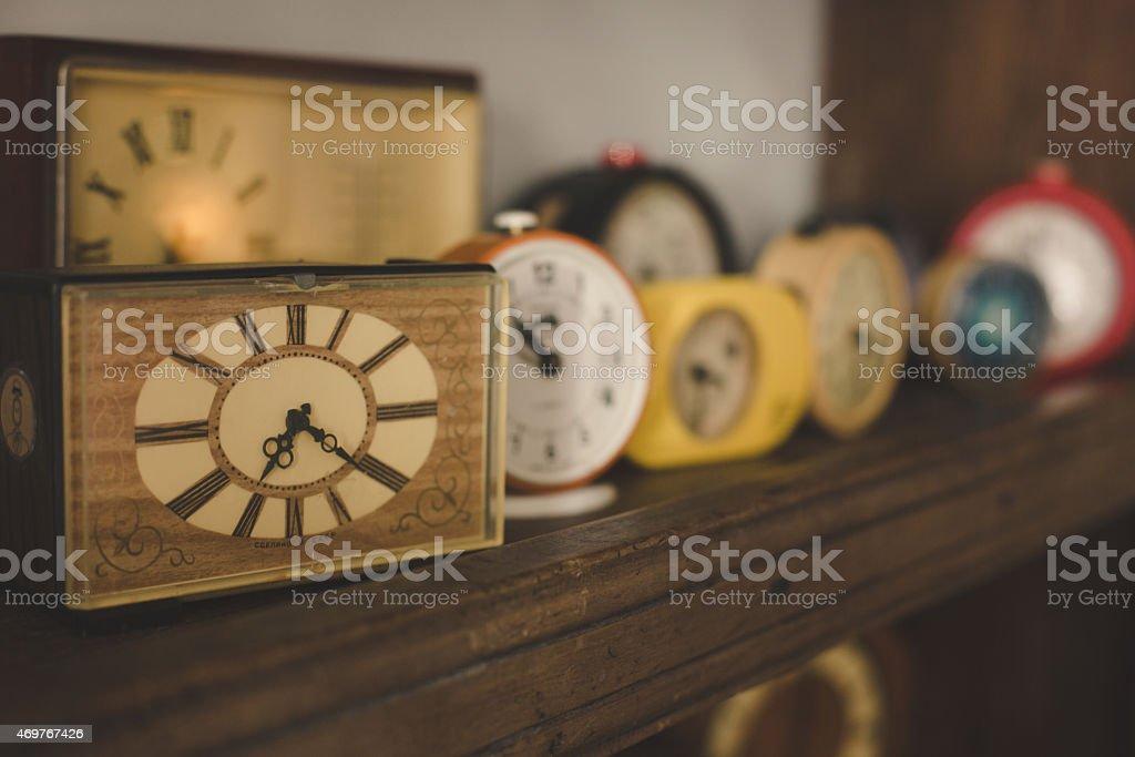 Old Clocks On A Shelf With Oldschool Vintage Instagram Filter Stock