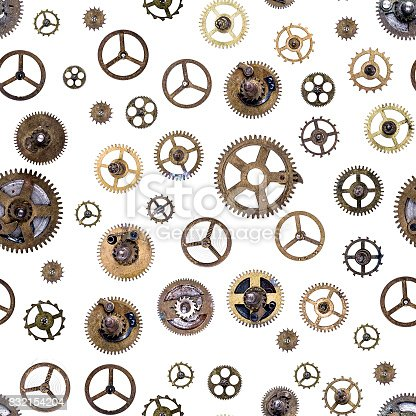 Old clockwork gears, cogs and clock parts ,seamless