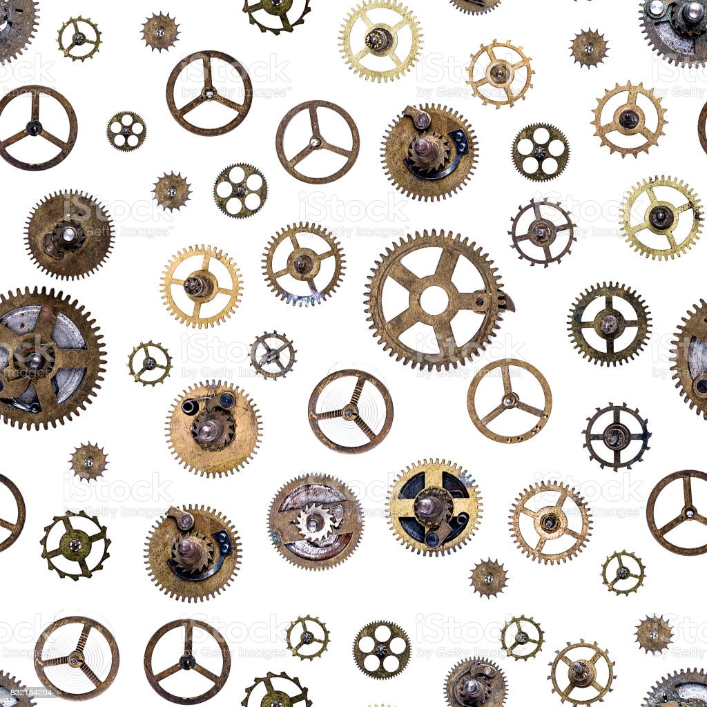 Old clockwork cogs and clock parts ,seamless stock photo
