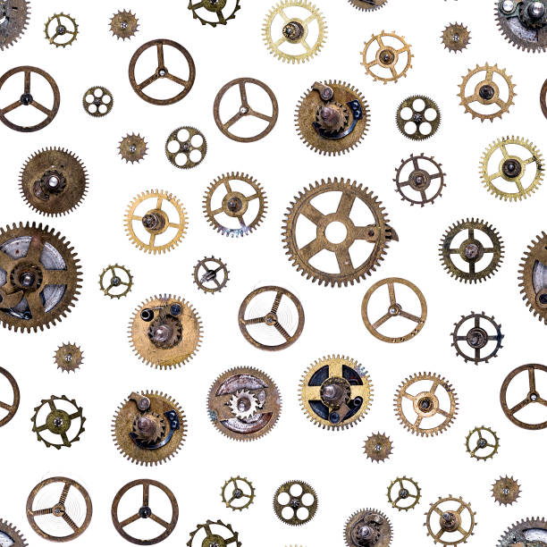 old clockwork cogs and clock parts ,seamless - steampunk stock photos and pictures