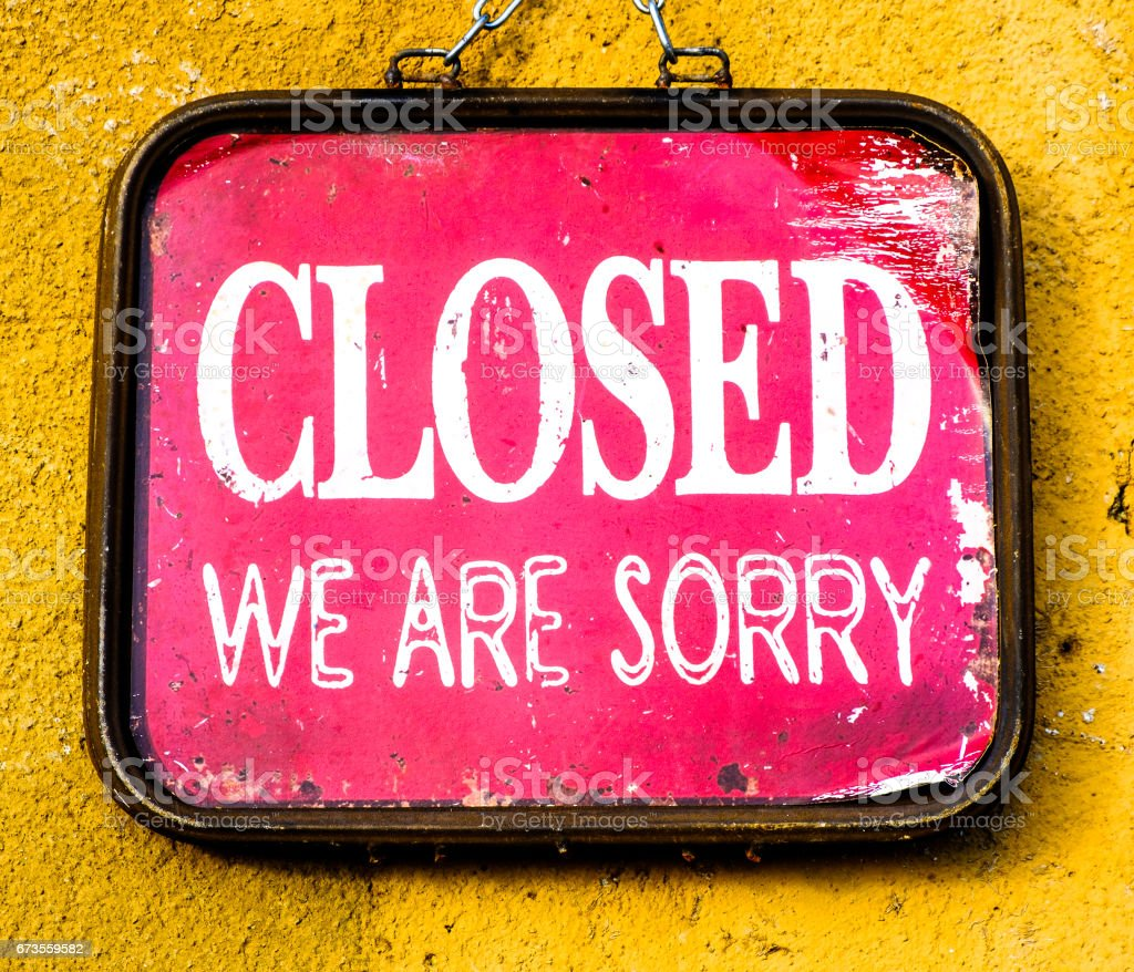 old closed sign royalty-free stock photo