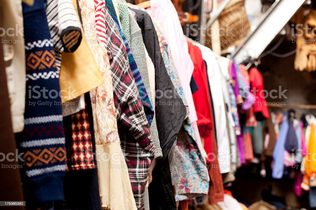 Old clothes in a row royalty-free stock photo