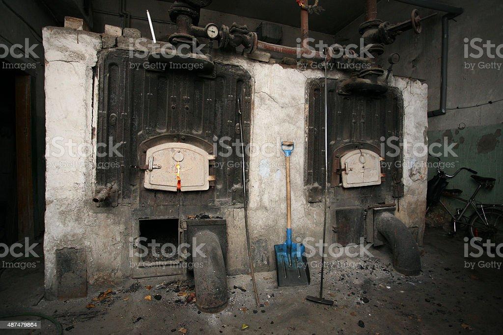 old coal boilers stock photo