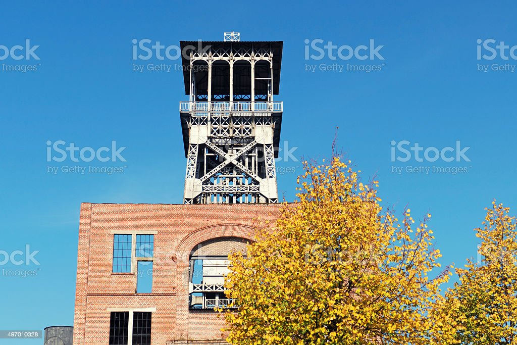 Old coal mine shaft and part of wall,Genk,Belgium stock photo