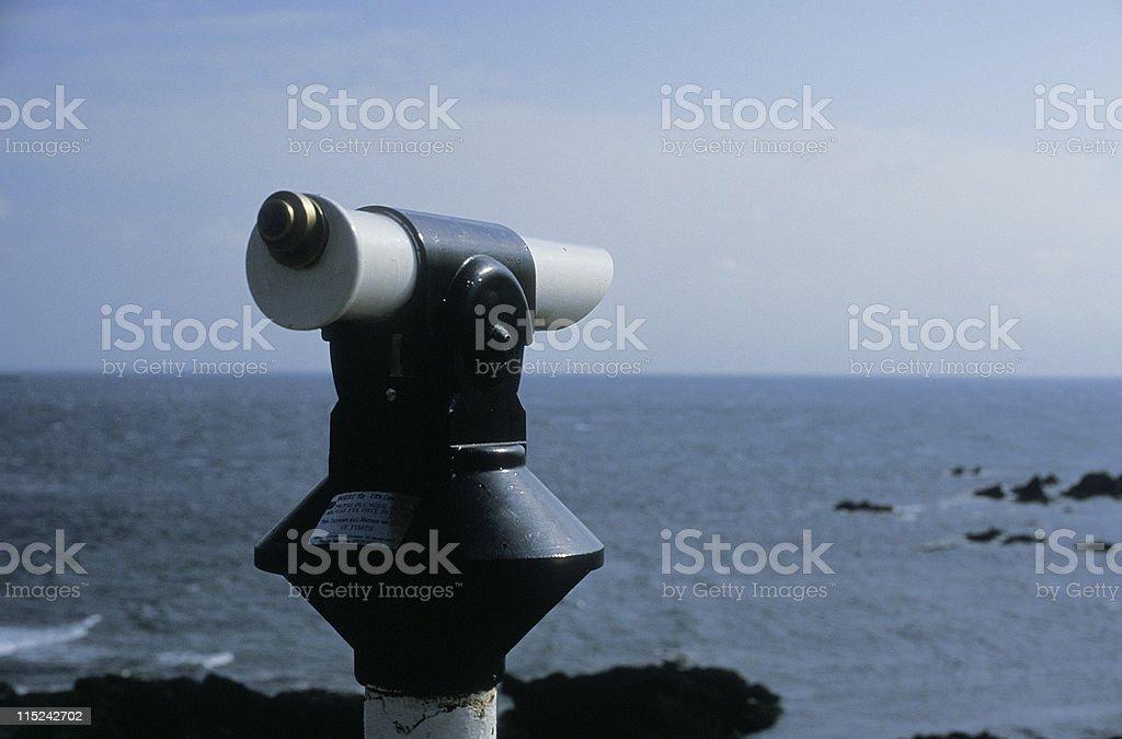 old coastal telescope in cornwall stock photo